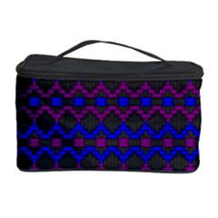 Split Diamond Blue Purple Woven Fabric Cosmetic Storage Case by Mariart