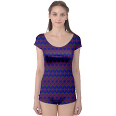 Split Diamond Blue Purple Woven Fabric Boyleg Leotard  by Mariart