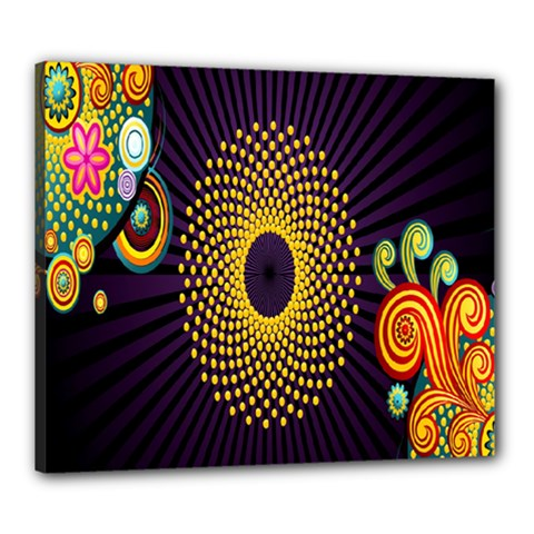 Polka Dot Circle Leaf Flower Floral Yellow Purple Red Star Canvas 24  x 20