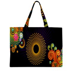 Polka Dot Circle Leaf Flower Floral Yellow Purple Red Star Zipper Mini Tote Bag by Mariart