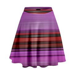 Stripes Line Red Purple High Waist Skirt by Mariart