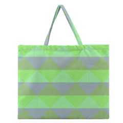 Squares Triangel Green Yellow Blue Zipper Large Tote Bag by Mariart