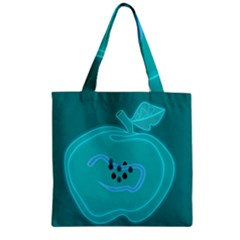 Xray Worms Fruit Apples Blue Zipper Grocery Tote Bag by Mariart