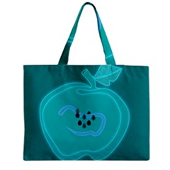 Xray Worms Fruit Apples Blue Medium Tote Bag by Mariart