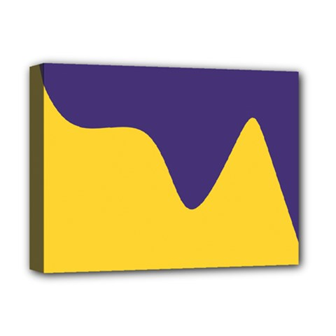 Purple Yellow Wave Deluxe Canvas 16  X 12   by Mariart