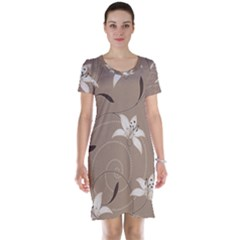 Star Flower Floral Grey Leaf Short Sleeve Nightdress by Mariart