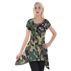 Army Camouflage Short Sleeve Side Drop Tunic by Mariart
