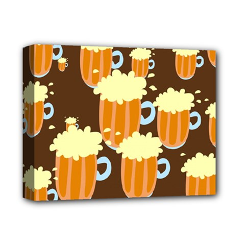 A Fun Cartoon Frothy Beer Tiling Pattern Deluxe Canvas 14  X 11  by Nexatart