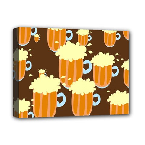 A Fun Cartoon Frothy Beer Tiling Pattern Deluxe Canvas 16  X 12   by Nexatart