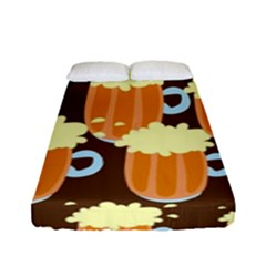 A Fun Cartoon Frothy Beer Tiling Pattern Fitted Sheet (full/ Double Size) by Nexatart