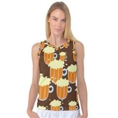 A Fun Cartoon Frothy Beer Tiling Pattern Women s Basketball Tank Top