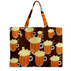 A Fun Cartoon Frothy Beer Tiling Pattern Medium Tote Bag by Nexatart