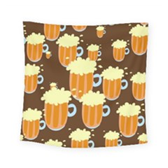 A Fun Cartoon Frothy Beer Tiling Pattern Square Tapestry (small) by Nexatart