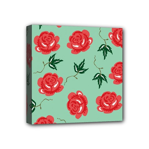 Red Floral Roses Pattern Wallpaper Background Seamless Illustration Mini Canvas 4  X 4
