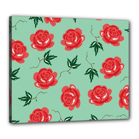 Red Floral Roses Pattern Wallpaper Background Seamless Illustration Canvas 24  x 20