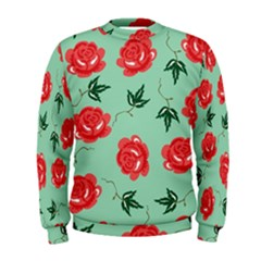 Red Floral Roses Pattern Wallpaper Background Seamless Illustration Men s Sweatshirt