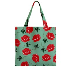 Red Floral Roses Pattern Wallpaper Background Seamless Illustration Zipper Grocery Tote Bag by Nexatart
