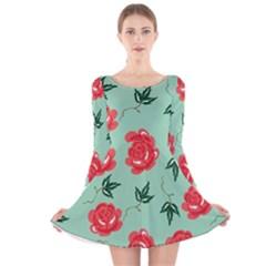 Red Floral Roses Pattern Wallpaper Background Seamless Illustration Long Sleeve Velvet Skater Dress
