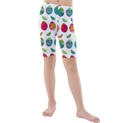 Watercolor Floral Roses Pattern Kids  Mid Length Swim Shorts