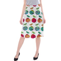 Watercolor Floral Roses Pattern Midi Beach Skirt
