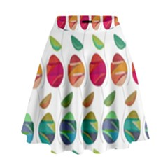 Watercolor Floral Roses Pattern High Waist Skirt
