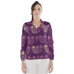 Purple Hearts Seamless Pattern Wind Breaker (women)