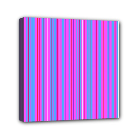 Blue And Pink Stripes Mini Canvas 6  X 6  by Nexatart