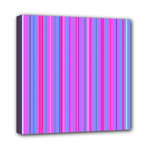 Blue And Pink Stripes Mini Canvas 8  X 8  by Nexatart