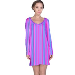 Blue And Pink Stripes Long Sleeve Nightdress