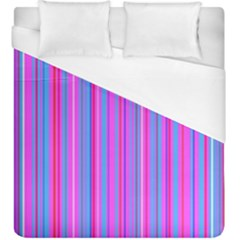 Blue And Pink Stripes Duvet Cover (King Size) by Nexatart
