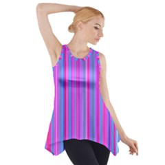 Blue And Pink Stripes Side Drop Tank Tunic