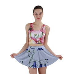 Floral Blue Bluebell Flowers Watercolor Painting Mini Skirt