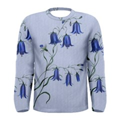 Floral Blue Bluebell Flowers Watercolor Painting Men s Long Sleeve Tee