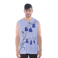 Floral Blue Bluebell Flowers Watercolor Painting Men s Basketball Tank Top