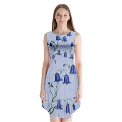 Floral Blue Bluebell Flowers Watercolor Painting Sleeveless Chiffon Dress