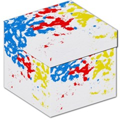 Paint Splatter Digitally Created Blue Red And Yellow Splattering Of Paint On A White Background Storage Stool 12   by Nexatart