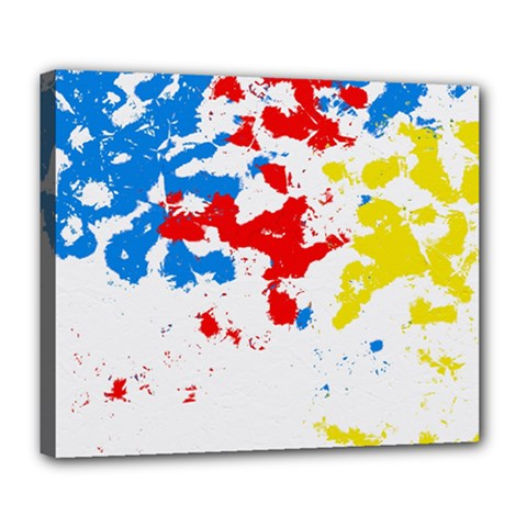 Paint Splatter Digitally Created Blue Red And Yellow Splattering Of Paint On A White Background Deluxe Canvas 24  x 20   by Nexatart