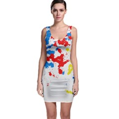 Paint Splatter Digitally Created Blue Red And Yellow Splattering Of Paint On A White Background Sleeveless Bodycon Dress by Nexatart