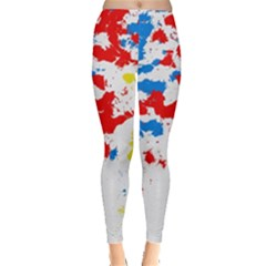 Paint Splatter Digitally Created Blue Red And Yellow Splattering Of Paint On A White Background Leggings  by Nexatart
