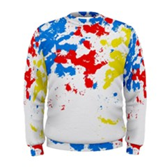 Paint Splatter Digitally Created Blue Red And Yellow Splattering Of Paint On A White Background Men s Sweatshirt