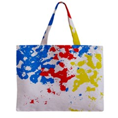 Paint Splatter Digitally Created Blue Red And Yellow Splattering Of Paint On A White Background Zipper Mini Tote Bag by Nexatart