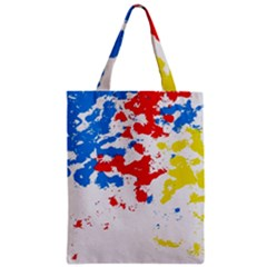 Paint Splatter Digitally Created Blue Red And Yellow Splattering Of Paint On A White Background Zipper Classic Tote Bag by Nexatart