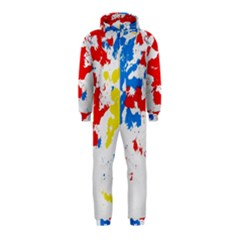 Paint Splatter Digitally Created Blue Red And Yellow Splattering Of Paint On A White Background Hooded Jumpsuit (Kids)