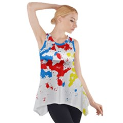 Paint Splatter Digitally Created Blue Red And Yellow Splattering Of Paint On A White Background Side Drop Tank Tunic by Nexatart