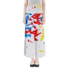 Paint Splatter Digitally Created Blue Red And Yellow Splattering Of Paint On A White Background Maxi Skirts