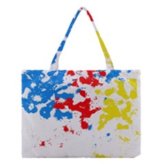 Paint Splatter Digitally Created Blue Red And Yellow Splattering Of Paint On A White Background Medium Tote Bag by Nexatart