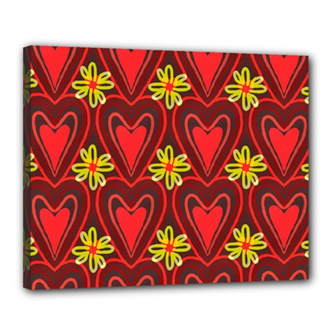 Digitally Created Seamless Love Heart Pattern Canvas 20  x 16  by Nexatart