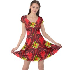 Digitally Created Seamless Love Heart Pattern Cap Sleeve Dresses