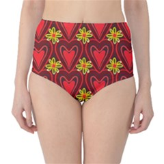 Digitally Created Seamless Love Heart Pattern High Waist Bikini Bottoms
