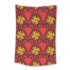 Digitally Created Seamless Love Heart Pattern Small Tapestry by Nexatart